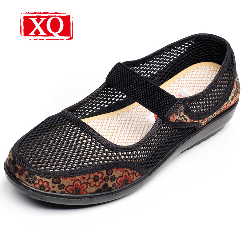 XQ Brand Spring Fall Summer Mesh Women Shoes Big Size Female Casual Shoes Breathable Flat Cloth Shoes Ladies Antiskid Sandal1767 instantarts spring women air mesh flat shoes breathable golden retriever shiba inu flower sneakers woman casual flats big size