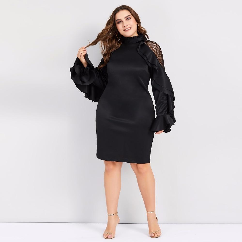 Elegant Long Sleeve Ruffles Black Large Size Bodycon Dress