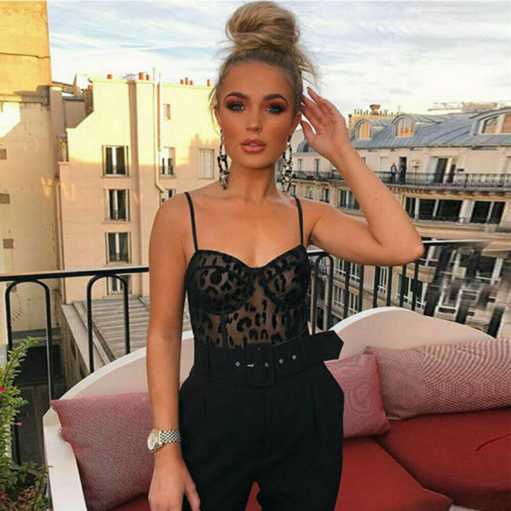 Women Sexy Sheer Black Lace Mesh See Through Bodysuit Bodycon Jumpsuit Sleeveless V Neck Stretch   Romper   Playsuit
