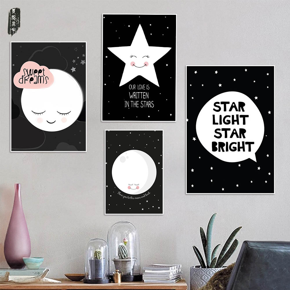 Cartoon Star Home Decoration Moon Canvas Art Abstract