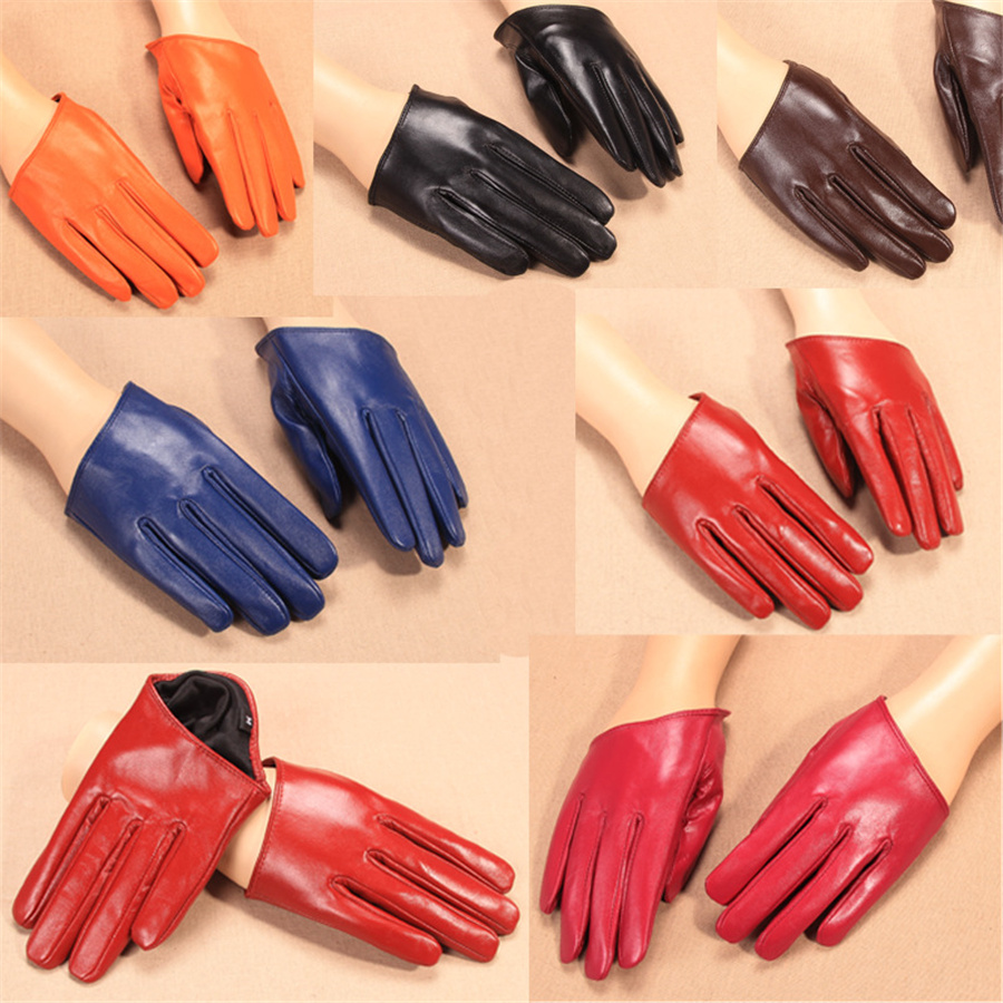 Autumn And Winter Real Leather Gloves Ladies Warm Dance Short Genuine Leather Gloves Fashion Driving Semi-Palm Fingertips NS08-5