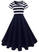 BLINGSTORY Europe Stripe Short Sleeved Retro Swing Ball Gown Robe Vintage 60s 50s Rockabilly Dresses LSN6418