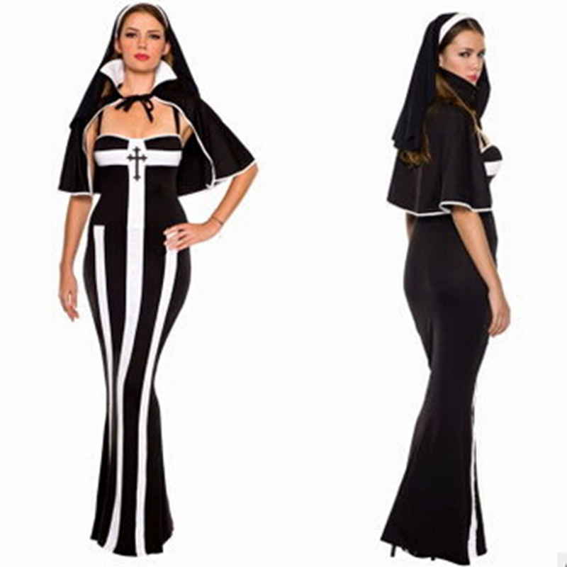 2016 Factory Directly Erotic Nun Women Costume Halloween Costume For Women Cosplay Sexy Nonne Costumes Fancy Party Uniform Dress