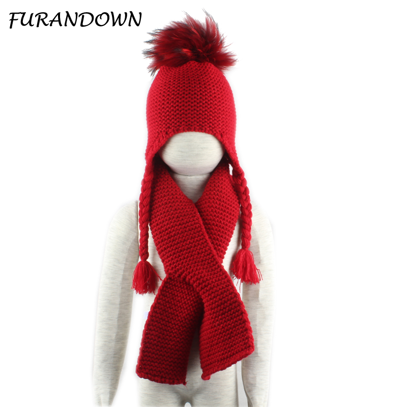 2018 real fur Pom pom beanie hat children winter hat and scarf set pompones colores hat for kids girls Skullies Beanies