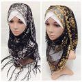 Mulheres bonitas de algodão hijab com paillette macio cachecol xale hijabs muçulmanos, pode escolher as cores, frete grátis