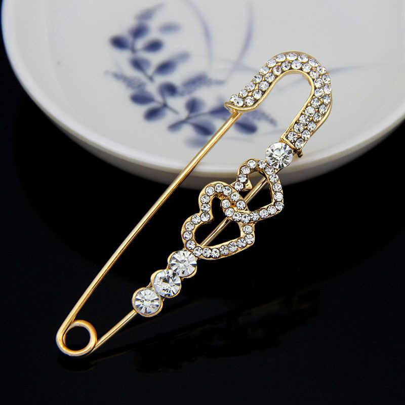 Kualitas tinggi Penuh Berlian Imitasi Dua Pin Jantung warna Emas Perhiasan Bros untuk Wanita Bros Pins
