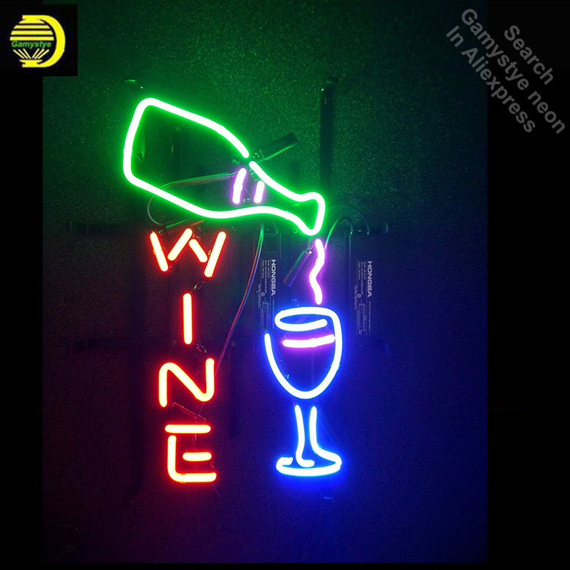 Neon Sign for Wine Appropriate for Gifts Neon Bulb sign cup handcraft Signboard Real Glass tube Dropshipping neon bar lights neon sign open live nudes sexy girl neon light sign decorate real glass tube neon bulb arcade neon sign glass store display17x14