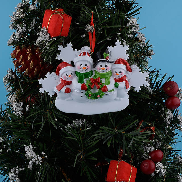 Wholesale Resin Snowman Family Of 4 Christmas Ornaments Personalized