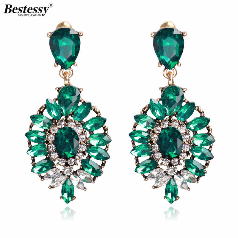 Bestessy 3 Colors Good Quality 2019 Trendy Fashion Women Oorbellen Crystal Vintage Statement Big Earrings For Women Jewelry
