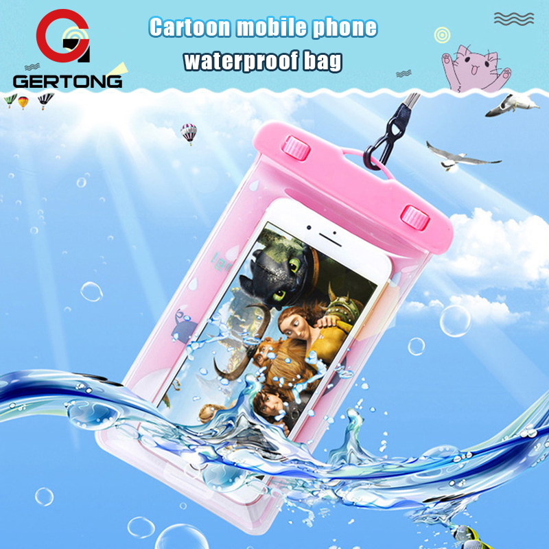 Gertong Cute Cartoon Waterproof Pouch Cover For Samsung Galaxy S8 S9 Underwater Dry Bag Swimming Underwater Phone Case