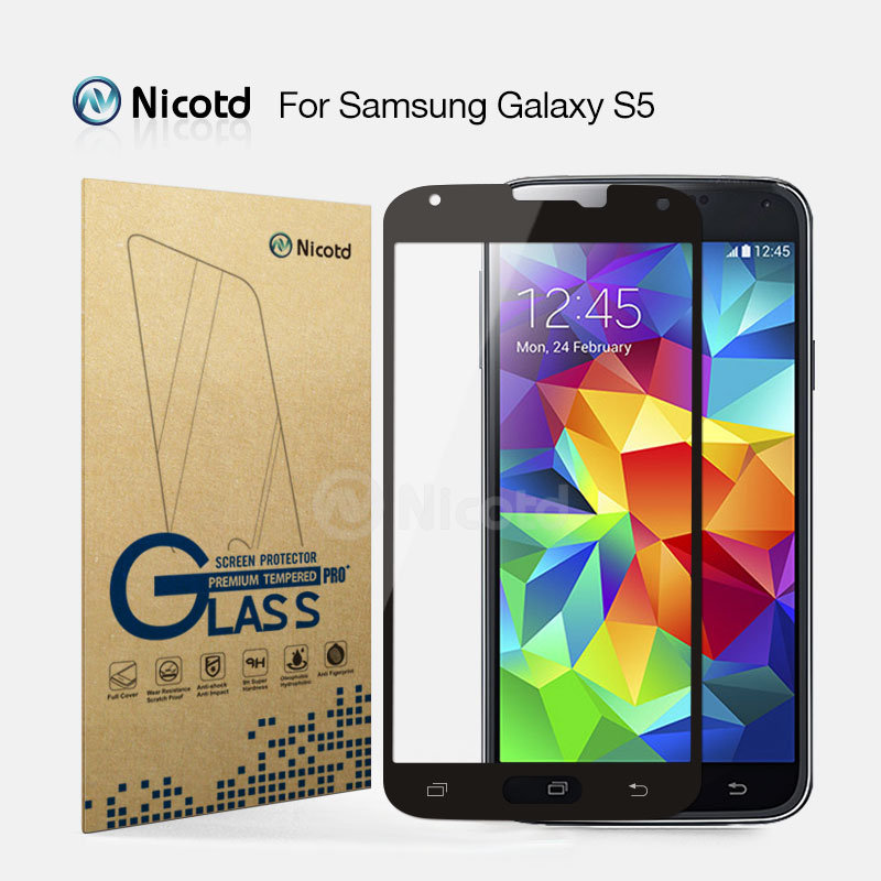 For Samsung S5 Nicotd 9H 2.5D Curved Full cover explosion proof Tempered Glass For Samsung Galaxy S5 Screen Protector film