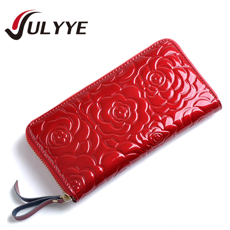 New Women European Style Flower Clutch Bag Brand High Quality Cow Leather Cell phone Wallet Coin