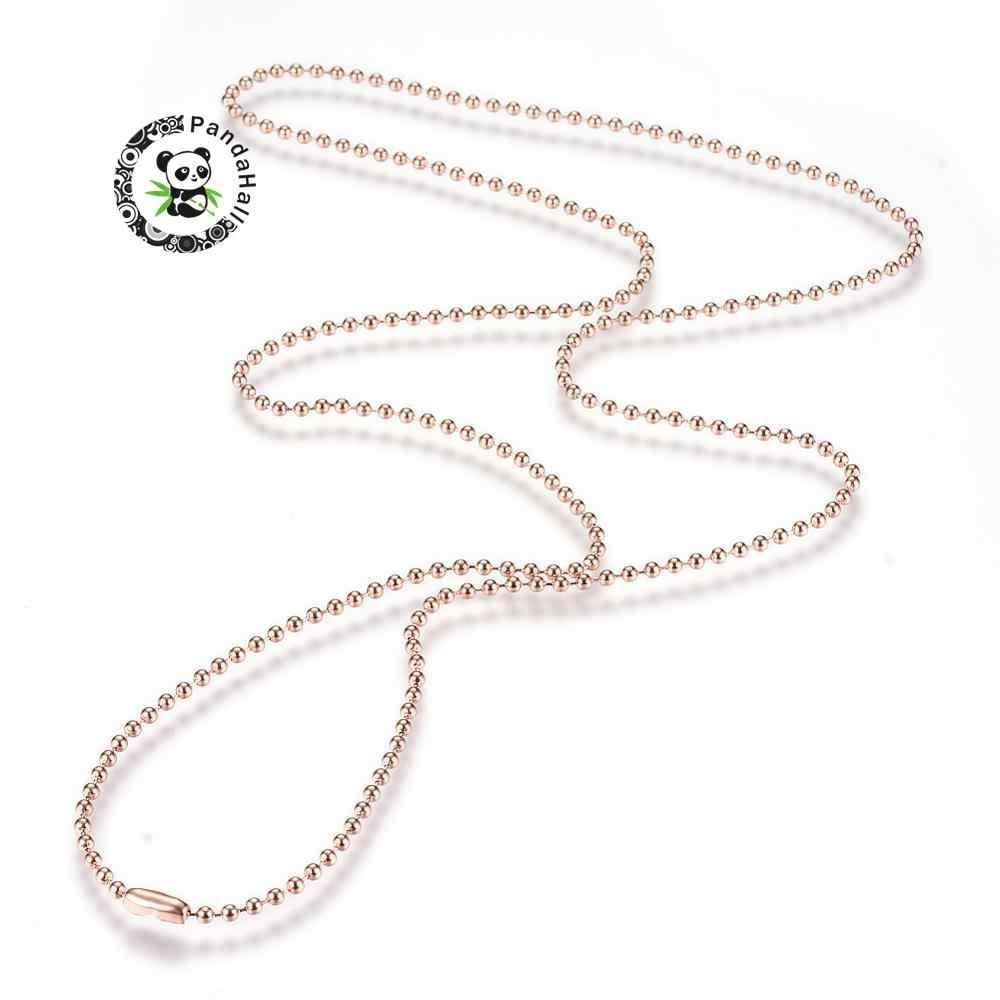 """304 Stainless Steel Rose Gold Ball Beads Chain choker Necklace bracelet jewelry Making Connector,29.5""""(75cm)x2.3mm F60"""