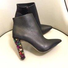 Новое поступление; Женские Сапоги выше колена из натуральной кожи; ботильоны с острым носком; модные стразы на высоком каблуке короткие ботинки на осень-зиму Обувь на высоком каблуке сапоги BY532