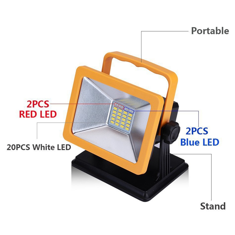1 Pcs Rechargeable LED Floodlight Portable Led Work Light Emergency Light IP65 Waterproof Camping Lamp Adapter + Car Charger
