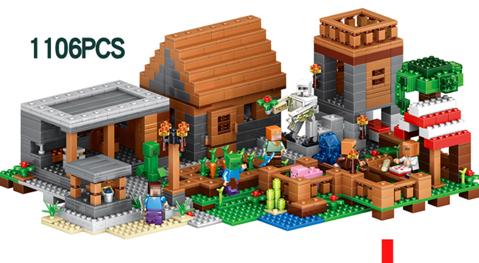 LEPIN 18010 1106pcs My World Compatible LegoINGed Minecrafted Building Block My Village Bricks DIY Gift Toys for children lepin 18010 my world 1106pcs compatible building block my village bricks diy enlighten brinquedos birthday gift toys kids 21128