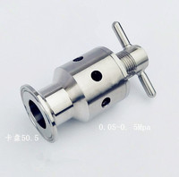 1.5(OD50.5mm) 0.5 5 bar Tri Clamp Adjustable Pressure Relief Child Safety Valve,Sanitary Stainless Steel 304