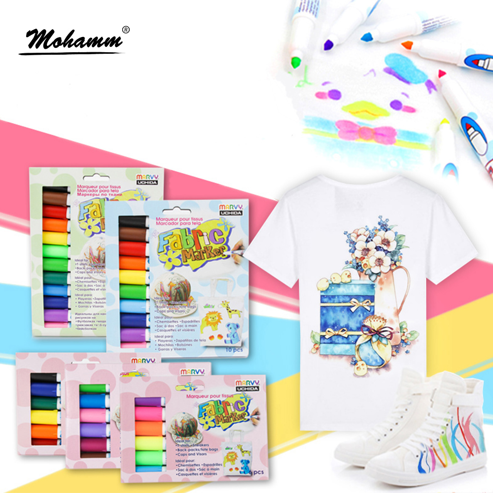 6/10/12 Colors Permanent Marker Fabric Paint Marking Pens Multicolor Sketch Textile Patchwork Crafts Pencil Sewing Tool kitsan30001san63705 value kit sanford uni paint marker san63705 and sharpie permanent marker san30001