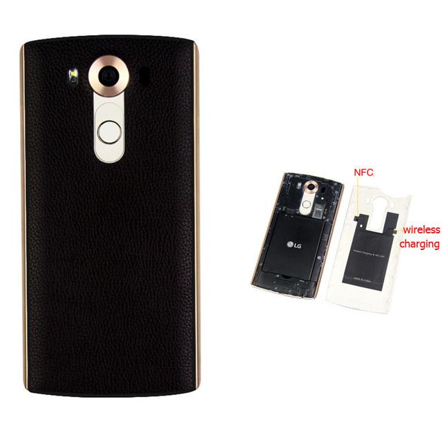 Qualidade superior para lg v10 genuine leather case bateria habitação tampa traseira ou lg v10 com qi de carregamento sem fio & NFC