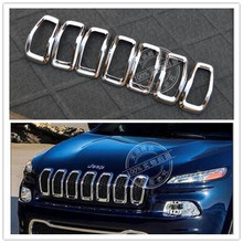 Front Grille Trims Exterior Mouding Sticker ABS chrome Car Accessories car styling sticker for jeep cherokee 2014 2015 7pc/sets
