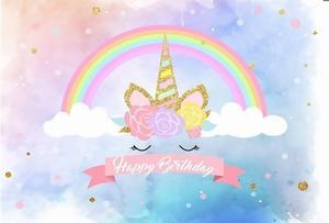 Image 3 - Unicorn יום הולדת קישוטים למסיבת ילדים Unicorn רקע מסיבת קשת צילום רקע תינוק מקלחת קישוט HL39