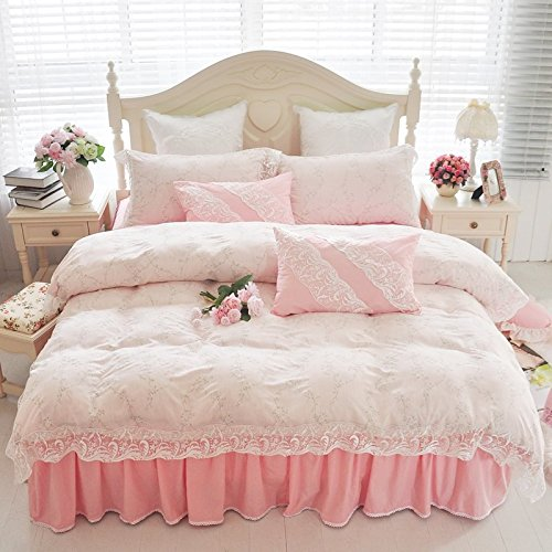 luxurious sweet vintage floral girls bedding set korean ruffle and lace bedding sets lace bed skirt - Vintage Bedding
