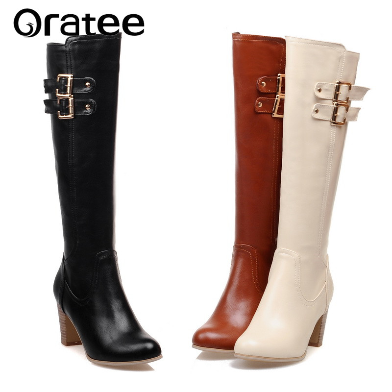 Autumn and Winter with Side Zipper high-Heeled Boots Knee