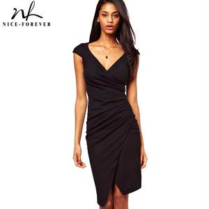 5331e064 Nice-Forever Fashion Summer Black women Deep V Neck Pleated Tunic Sheath  Business Bodycon Slim office Evening party Dresses 728