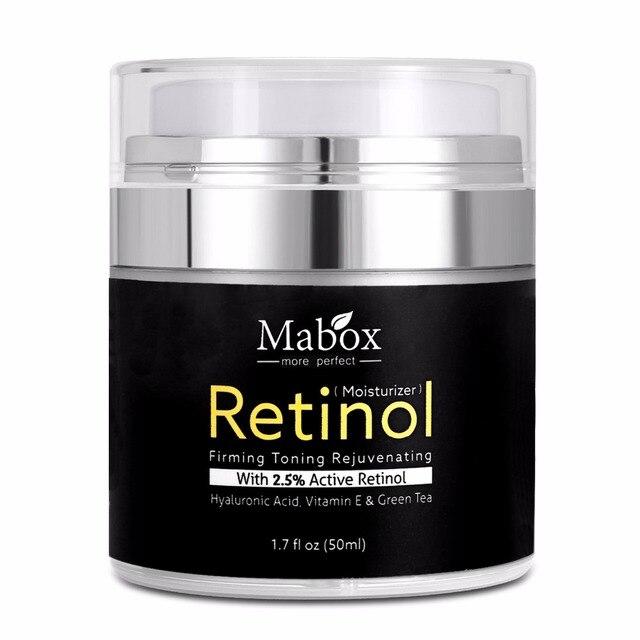 Mabox 50 ml רטינול 2.5% קרם לחות פנים קרם חומצה היאלורונית הזדקנות להסיר קמטים ויטמין E קולגן חלק הלבנת קרם