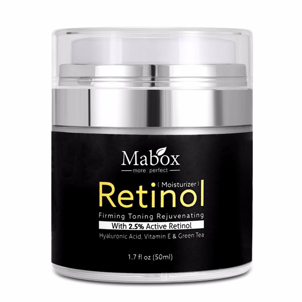 Mabox 50 ml AntiAging Remover Rugas Retinol 2.5% Hidratante Creme para O Rosto de Ácido Hialurônico Vitamina e Clareamento Suave Creme de Colágeno