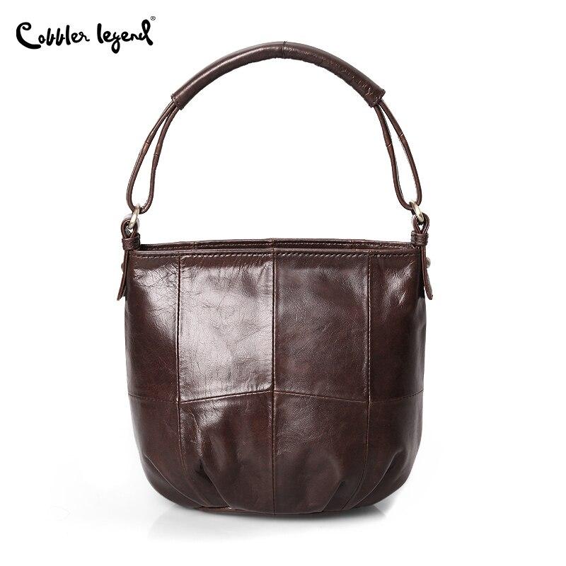 Image 3 - Cobbler Legend Vintage Bucket Handbags Women Shoulder Bag Genuine  Leather Women Totes Shopping Bag Brand Designer Purse FemaleTop-Handle  Bags