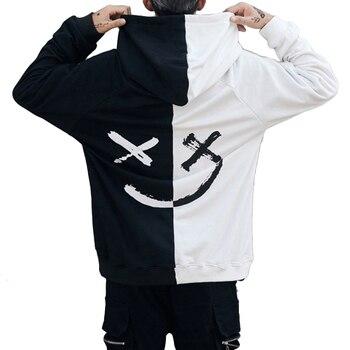 Harajuku Men Hoodies Fashion Smile Printed Hooded Sweatshirt Hip Hop Streetwear Male Loose Hoodie Pullover Clothes Moletom sweatshirt