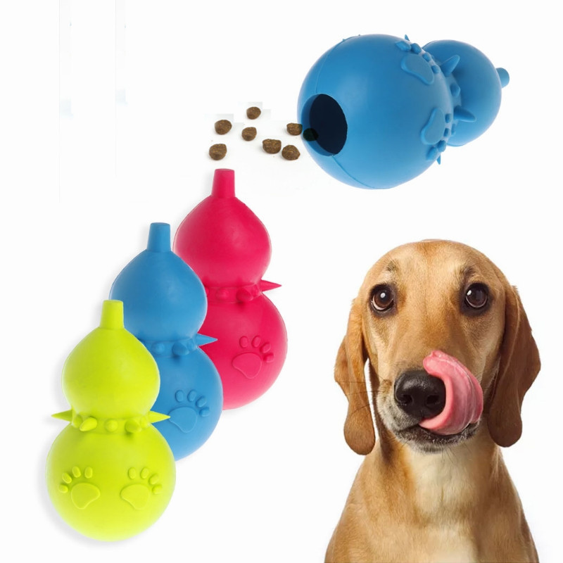 Pet Dog Toy Interactive Rubber Gourd Balls Pet Dog Cat Puppy Chew Toys Ball Teeth Chew Toys Tooth Cleaning Balls Food