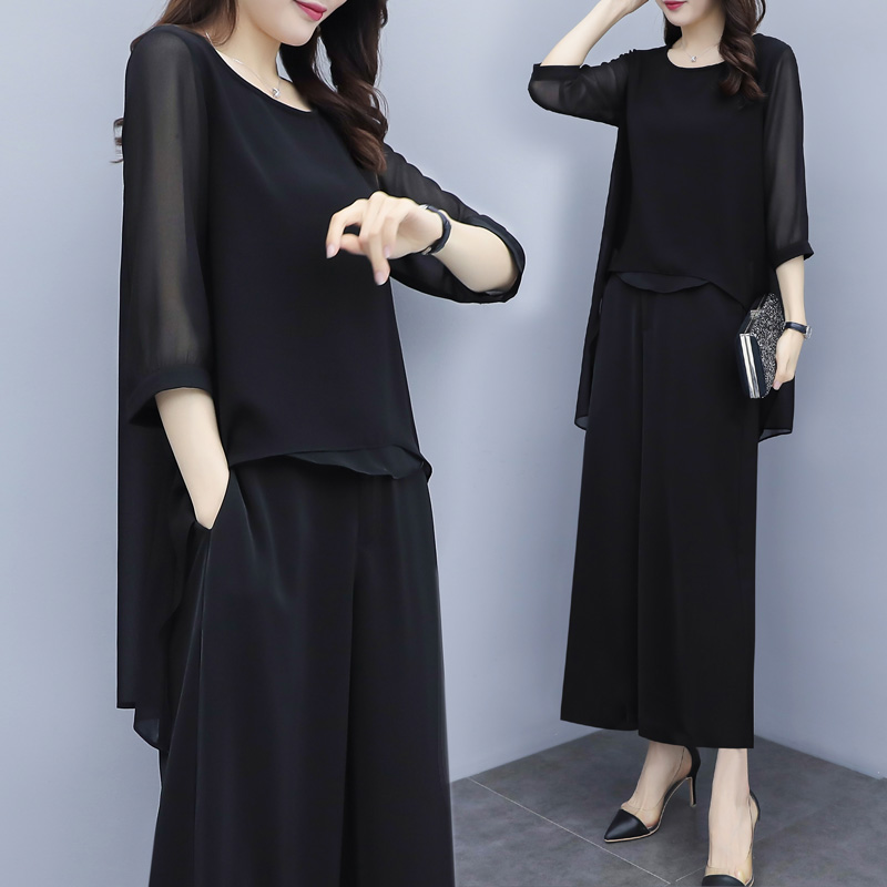 HTB1XC.Za8OD3KVjSZFFq6An9pXag - S-3xl Summer Chiffon 2 Two Piece Sets Outfits Women Plus Size Asymmetrical Blouses And Wide Leg Pants Suits Elegant Korean Sets