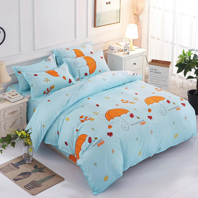 3/4pcs/Set Blue Comforter Kids Bedding Set Bed Linen Cotton Duvet Cover Set No Filler Home Textile(China)