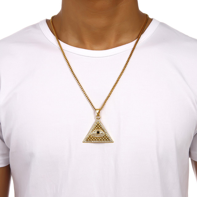 Online shop golden egyptian pyramid necklaces pendants men women golden egyptian pyramid necklaces pendants men women iced out crystal illuminati evil eye of horus chains jewelry gifts aloadofball Choice Image