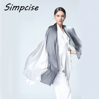 Simpcise 2017 Women Silk Scarf Fashion Ombre Echarpe Smooth Summer Wrap Female Luxury Scarves Foulard