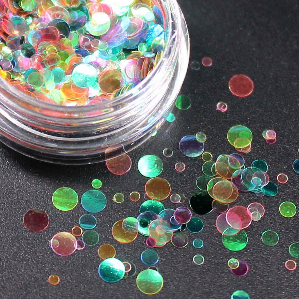 1 kutu parlak yuvarlak Ultrathin Sequins renkli tırnak sanatı Glitter İpuçları UV jel 3D tırnak dekorasyon manikür DIY aksesuarları 2017 NR234