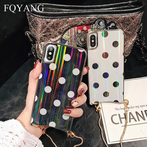 Image 4 - FQYANG Vintage Dot Case for IPHONE XS MAX XR Aurora Glass Case for Iphone 6s 7 8 Metal Lanyard Case for Iphone 7P 8P Back Cover