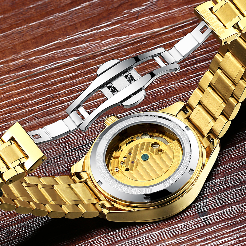 KINYUED Fashion Mens Mechanical Watch Brand Automatic Waterproof Skeleton Watches Men Gold Moon Phase Diamond reloj hombre 2019 6