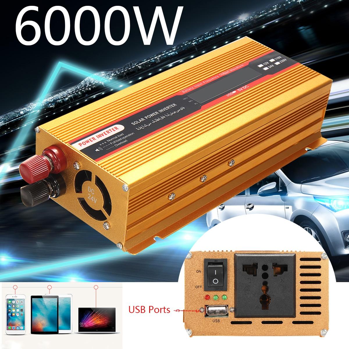 Car Power Inverter 12/24 V AC 220/110 V pico 6000 W USB de onda sinusoidal modificada convertidor sobrecarga voltaje transformador