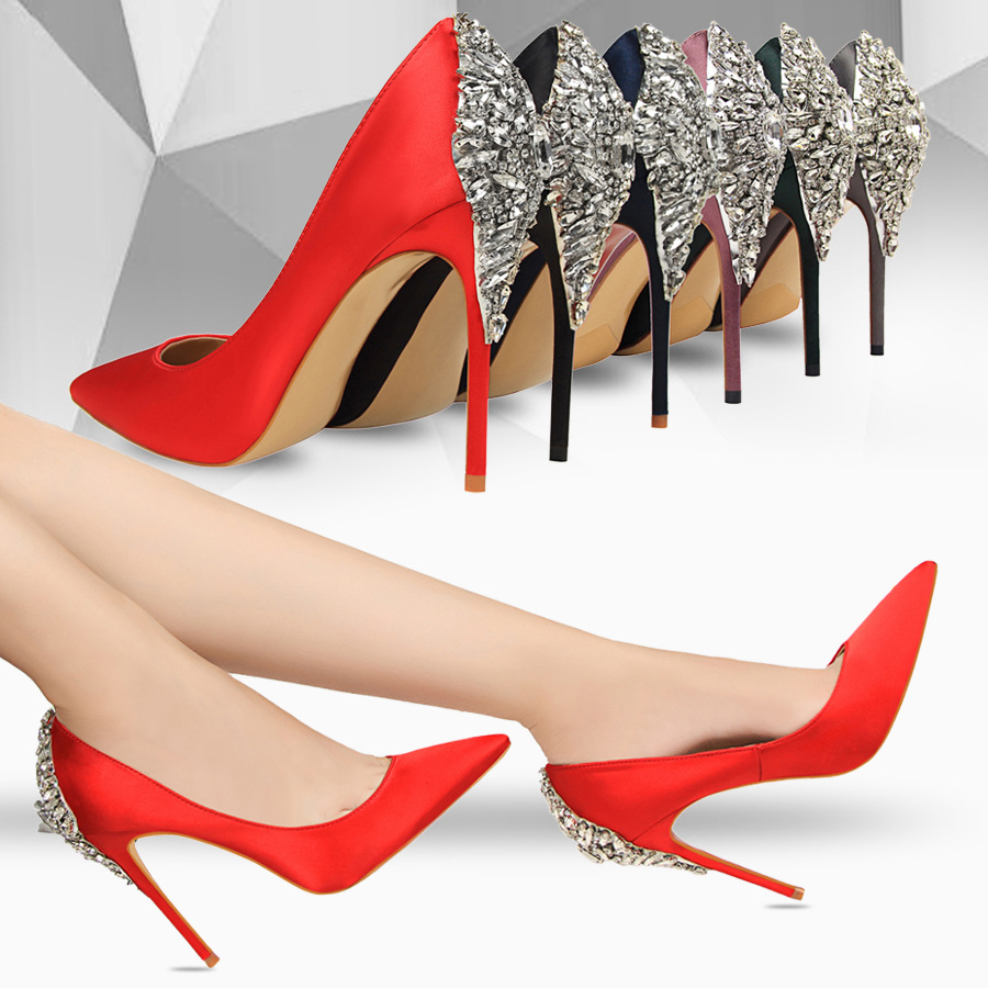 2017 Luxury Elegant Pumps Star Shoes Rhinestone Satin High Heels Shoes Thin High heeled Pointed Shiny