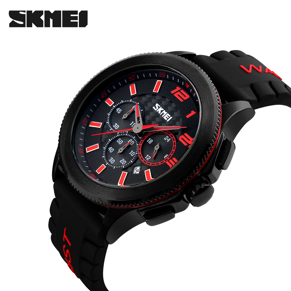 Men Fashion Quartz Watches SKMEI Brand Casual Auto Date Stop Watch Analog Watches Silicone Strap Wristwatches relogio masculino men sports watches waterproof multiple time zone led quartz wristwatches silicone auto date back light ohsen brand watch ad2806