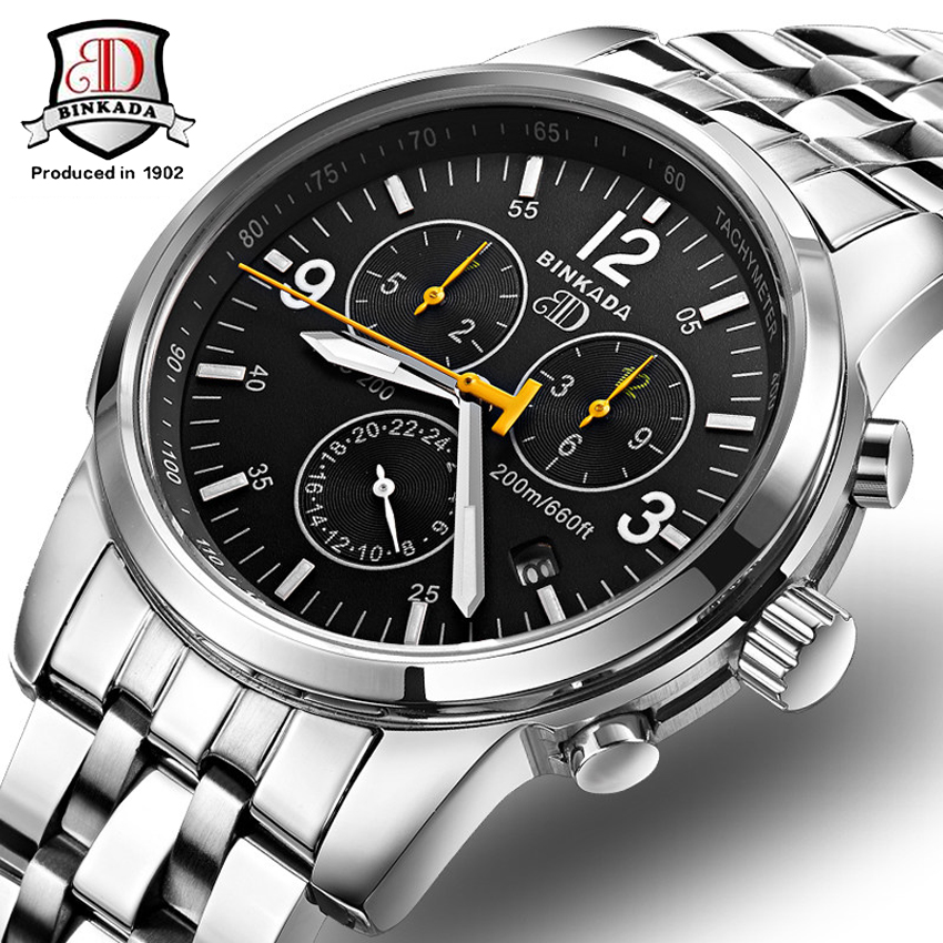 Men's Classical Elegant Steel Leather Strap Automatic Mechanical Watches BINKADA High Quality Second Hand Analog Wrist Watch