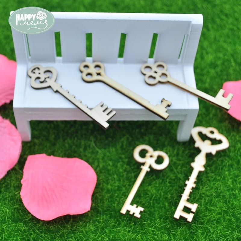 Happymems Wood Shape Keys 24pcs/lot Pine Wood DIY Craft Home Decoration Embellishments Scrapbooking Crafts Party Supplies Kids