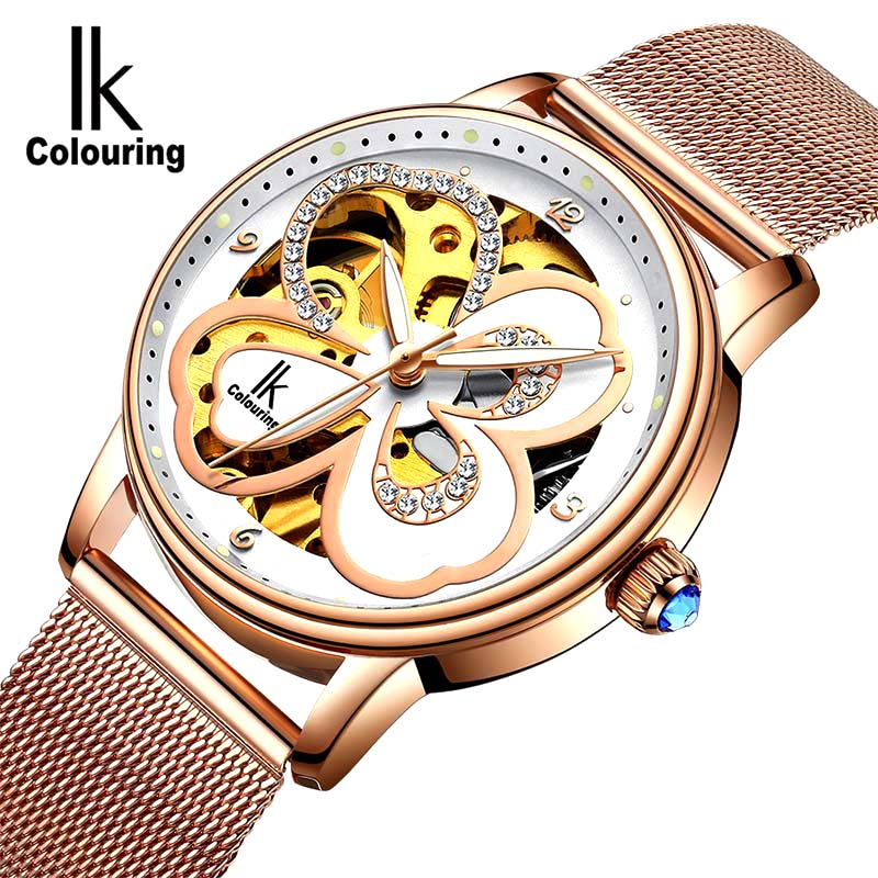 Women Watch Famous Brand Luxury Diamond Watch Luminous Automatic Mechanical Skeleton Dial Stainless Steel Wrist Watch Christmas