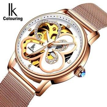 цена на Women Watch Famous Brand Luxury Diamond Watch Luminous Automatic Mechanical Skeleton Dial Stainless Steel Wrist Watch Christmas