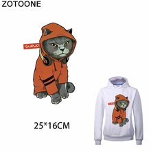 ZOTOONE Cool Kitty Iron on Patches for Clothes Print T-Shirts Simple Heat Transfer Vinyl Applique Funny Thermal Sweatshirt