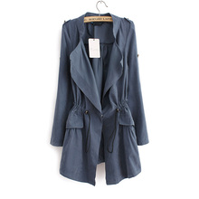 Fashion 2017 Autumn Long Trench Coat For Women Open Stitch Drawstring Waist Outwear Solid Casual Female