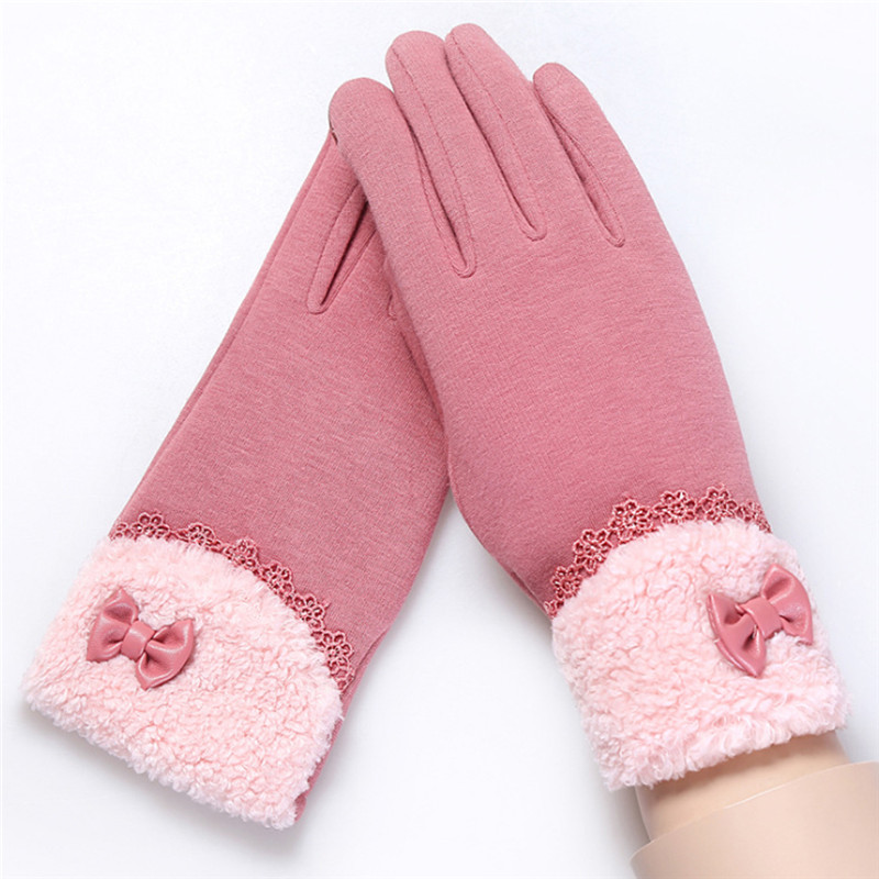 Warm Fleece Ladies Knitted Touchscreen Gloves Full Finger Touch Mittens 2017 Winter Womens Heated Cotton Gloves Gants Femme